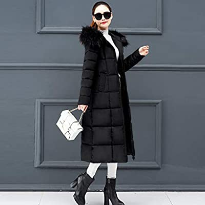 Lelili Women Long Maxi Coat Plus Szie Fashion Packable Long Sleeve Faux Fur Hoode Zip Button Up Padded Overcoat Outwear at Women's Clothing store