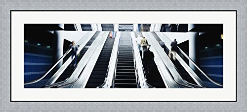 Group of people on escalators at an airport, O'Hare Airport, Chicago, Illinois, USA by Panoramic Images Framed Art Print Wall Picture, Flat Silver Frame, 44 x 20 - Airport Chicago Images
