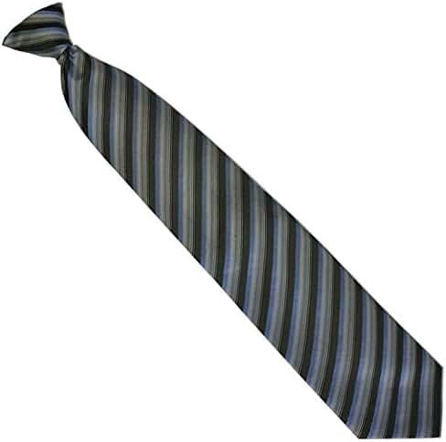 Necktie Emporium Men's Woven Grey, Black + Blue Stripe Clip-On Necktie