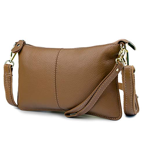 Artwell Women Genuine Leather Clutch Handbag Fashion Wristlet Purse Envelop Crossbody Shoulder Bag with Removable Long Strap for Party Wedding Shopping (Khaki) ()