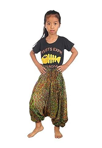 Lofbaz Kids Harem Aladdin Peacock Child Pants Bohemian Baggy Light Green Size 4/5 Years