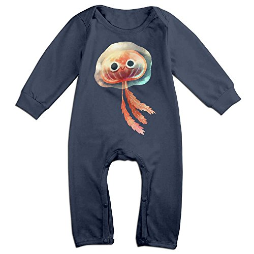Jellyfish Long Sleeve Romper For 0-24 Months Navy 6 - International To Usps First Australia Class Time