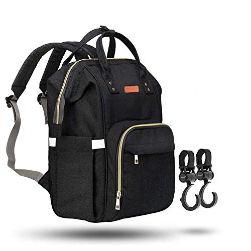 (ZUZURO Diaper Bag - Baby Bag - Waterproof Backpack w/Large Capacity & Multiple Pockets for Organization. Ideal for Travel Nappy Bags - W/Insulated Bottle Pocket. 2 Stroller Hooks Incl. (Black))
