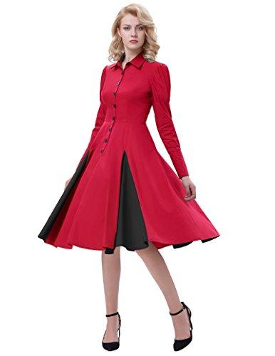 en pour FR366 reg; Chemise Robe Robe Halloween Robe Coton Manche Poque Femme Fte Dguisement Gothique Edwardian Rouge Longue Belle ZqPwTI