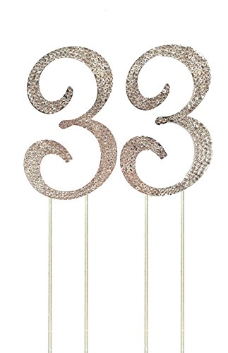 Number 33 Silver Rhinestone Crystal Cake Topper, Numbers, Letters for Wedding, Birthday, Anniversary, Party. Shine & Sparkles. RHINESTONE. BEST OFFER ON AMAZON (Number (Party City Cake Decorations)