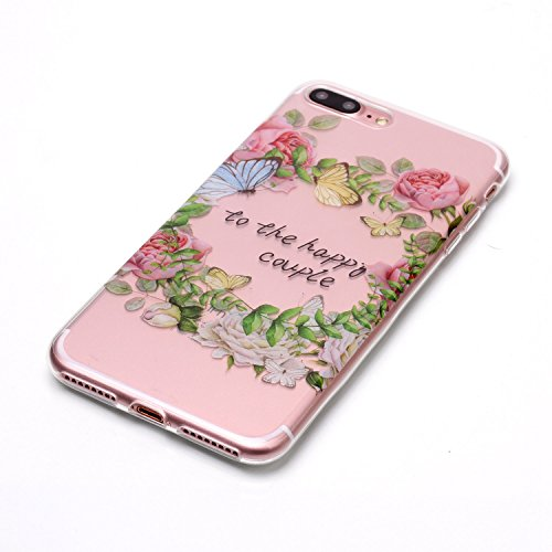 Custodia iPhone 7 Plus / iPhone 8 Plus , LH Foglie Verdi Rose TPU Trasparente Silicone Cristallo Morbido Case Cover Custodie per Apple iPhone 7 Plus / iPhone 8 Plus 5.5