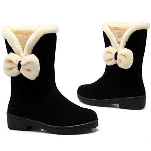 Inner Women TAOFFEN Bowknot Warm Boots Winter Comfort with Black Snow 7fyfd1xwtq