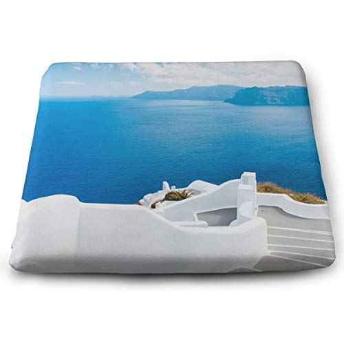 (FUAIPO Seat Cushion Non-Slip Memory Foam Chair Pad Santorini Island GreeceSuper Soft Memory Foam Cushions for Home Decor, Car Chair Pads)
