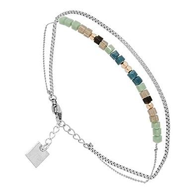 tout neuf 8bf7c 0afeb Zag Bijoux Bracelet Double Rangs Pierre Bleue Turquoise ...