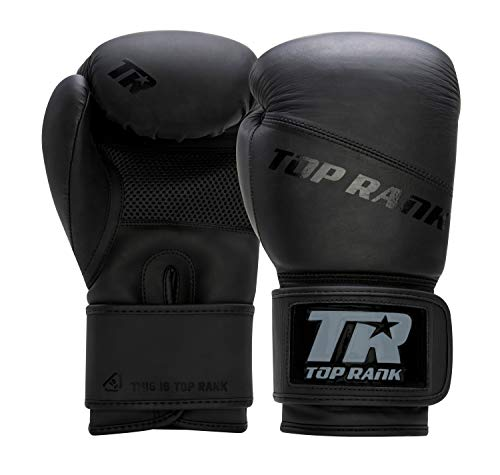 TOP RANK Champion Series Professional Boxing Training Gloves, Durable Grade-A Leather, Molded Foam, Mesh Palm, Hook and…