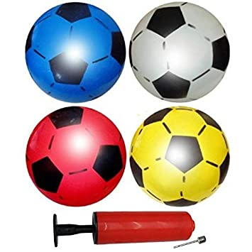 12 Balones de Fútbol Inflables de PVC - Incluye una bomba para inflar. - 4 Colores diferentes - Perfecto para regalos de niños, fiestas y bolsas - ...