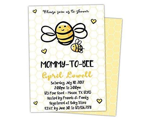 Amazon Com Bee Baby Shower Invitations Mommy To Bee Girl Boy