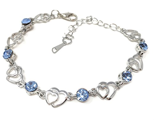 Blazing Autumn Double Silver Hearts with Crystal Stones Set in Silver Link Chain Bracelet for Teens and Women(Light Blue) ()