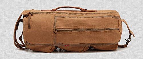 Izacu Nueva Mujer / Hombre Lienzo Vintage y Cuero Senderismo Mochila bolsa de viaje (khaki, 46*18*20cm) Khaki