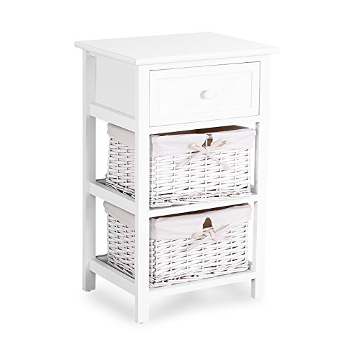 Mecor 3 Tiers Wood Nightstand Beside End Side Table for Bedroom,with1 Drawer and 2 Wicker Baskets,White by Mecor