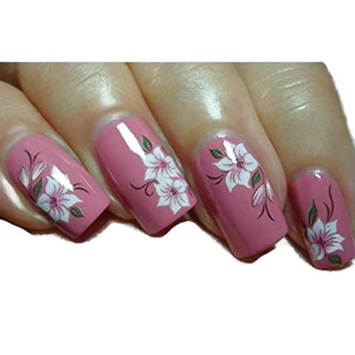 Elegant Red White Lotus Flower Daisy Nail Art Stickers Water Transfer Decals 3 Sheets