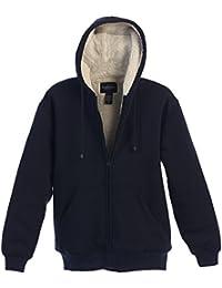 Men Heavyweight Sherpa Lined Fleece Hoodie Jacket, Navy, X Large