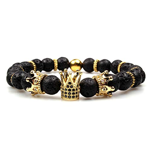 GVUSMIL Imperial Crown Bead Bracelet King/&Queen Luxury Charm Couple Jewelry Xmas Gift for Women Men