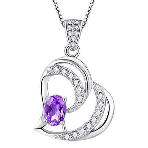 QTRESOR Gifts for Women Girls Swiss Blue Natural TOPAZ AMETHYST February Birthstone LOVE HEART Sterling Silver Pendant Necklace Fine Jewelry Anniversary Birthday