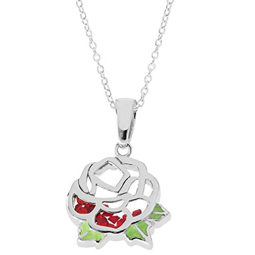 Disney Women's and Girls Jewelry Beauty and The Beast Sterling Silver Crystal Rose Shaker Pendant,18