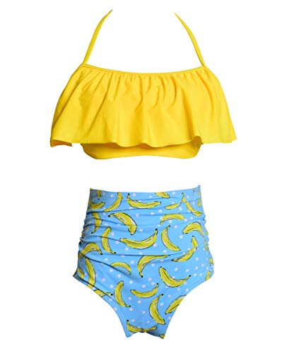 Mommy and Me Family Matching Swimsuit,Top and High Waist Bottom Suit 152 Yellow Banana