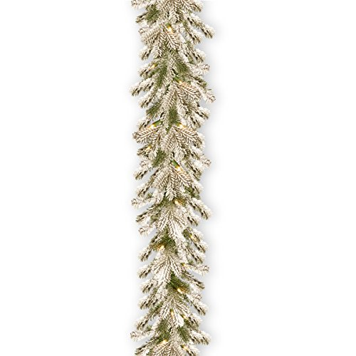 National Tree Pine 9 Foot Feel Real Snowy Sheffield Spruce Garland -  PESL3-307-9B