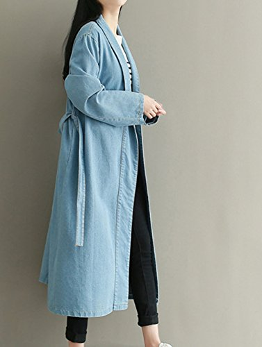 Jean Ceinture Nanxson En TM Manteau clair Large Trench Long Pour Avec Femmes WTW0116 Casual bleu xntXn5rdw