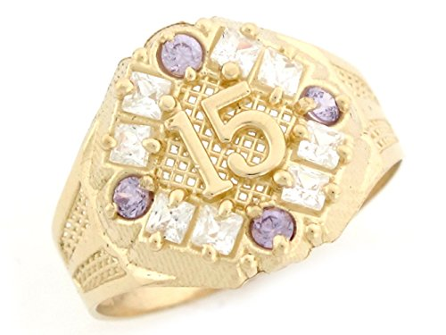 10k Yellow Gold Simulated Birthstone Amethyst Pretty Quinceanera 15 Anos Simulated Birthstone Ring by Jewelry Liquidation