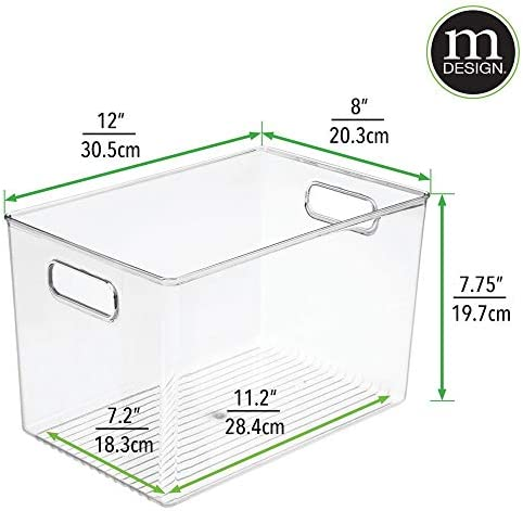 """41sAi8aju1L. AC mDesign Deep Plastic Home Storage Organizer Bin for Cube Furniture Shelving in Office, Entryway, Closet, Cabinet, Bedroom, Laundry Room, Nursery, Kids Toy Room - 12"""" x 8"""" x 7.75"""" - 4 Pack - Clear    These plastic Storage Boxes by mDesign are perfect for keeping your home organized and clutter-free. They offer roomy space for a variety of items and they fit perfectly into cube storage shelving units. Slide these into the cubbies and you are ready to get organized! The open top makes it easy to see what is stored inside and quickly grab what you need. The integrated handles make moving the cube baskets on and off of shelves easy."""