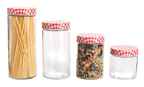 Anchor Hocking 4 Piece Glass Cylinder Jar Set with Gingham Lids, Clear/Red