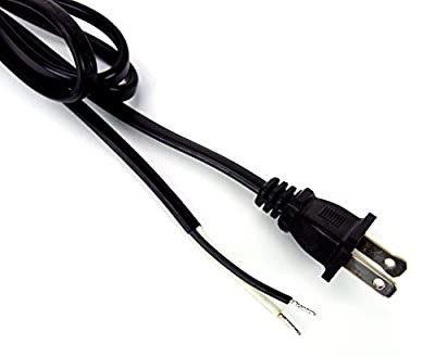Ultra Cable [UL listed] Copper Wire 18AWG 2-Prong AC Power Cord Power Supply Lead Cable Pigtail with Stripped Ends, 6FT