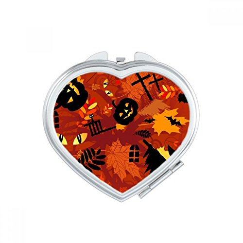 DIYthinker Cartoon Deep Forest Halloween Heart Compact Makeup Pocket Mirror Portable Cute Small Hand Mirrors Gift