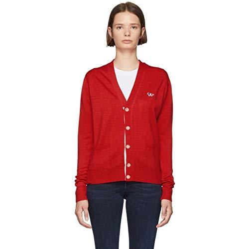 (メゾン キツネ) Maison Kitsune レディース トップス カーディガン Red Tricolor Patch Cardigan [並行輸入品]