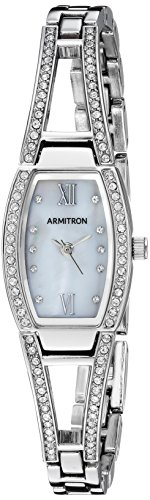 (Armitron Women's 75/3531MPSV Swarovski Crystal Accented Silver-Tone Bangle Watch)