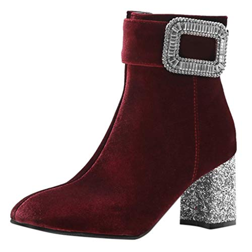 Dermanony Womens Casual Ankle Boots Winter Rhinestone Buckle Zip up Short Boots Pointed Toe Rough High Heels Shoes Wine Red (Charms For Ugg Boots)