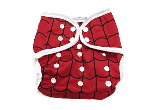 BB2 Baby One Size Printed White Gussets Snaps Cloth Diaper Cover for Prefolds (One Size, Red & Black Lines (Spiderman))