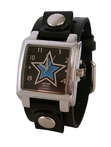 (Beyond Women's Square Blue Star Watch - Black Leather Cuff)