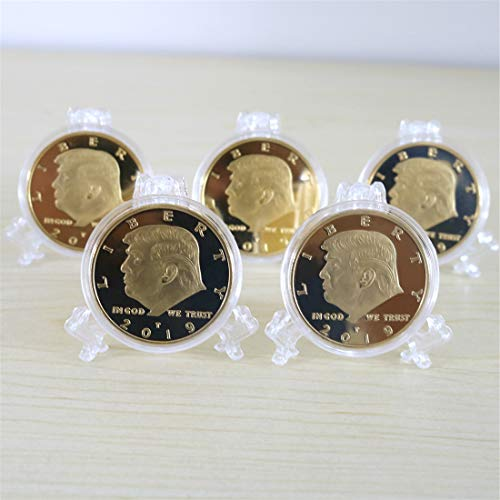 - 5 Pack President Donald Trump Commemorative Coins, Gold Plated Coin with Metal Gift Box (5 Pack)