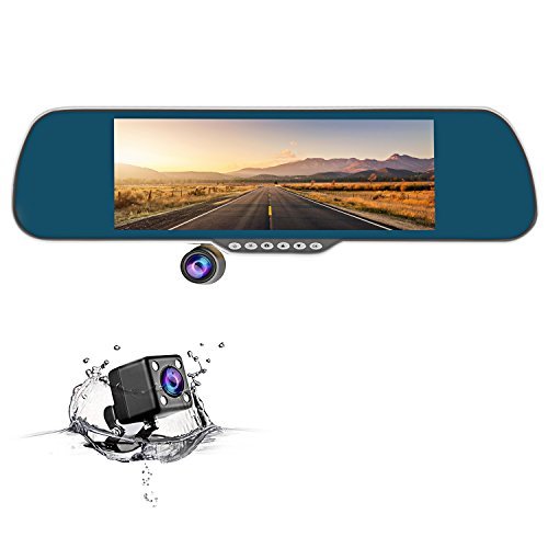 CHICOM Dash Cam 350 Degree Rotating Camera Dual Lens dvr Video Recorder Reversing Dash Camera with Full hd 1080p 170 Degree Rearview cam (Black)