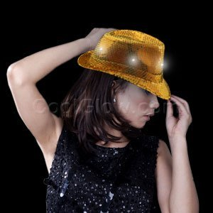 Fun Central O747 LED Light Up Sequin Fedora - Gold -