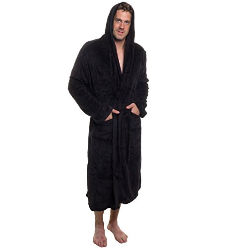 Mens Hooded Robe - Plush Shawl Kimono Bathrobe by Ross Michaels (Black, L/XL) (Male Robes)