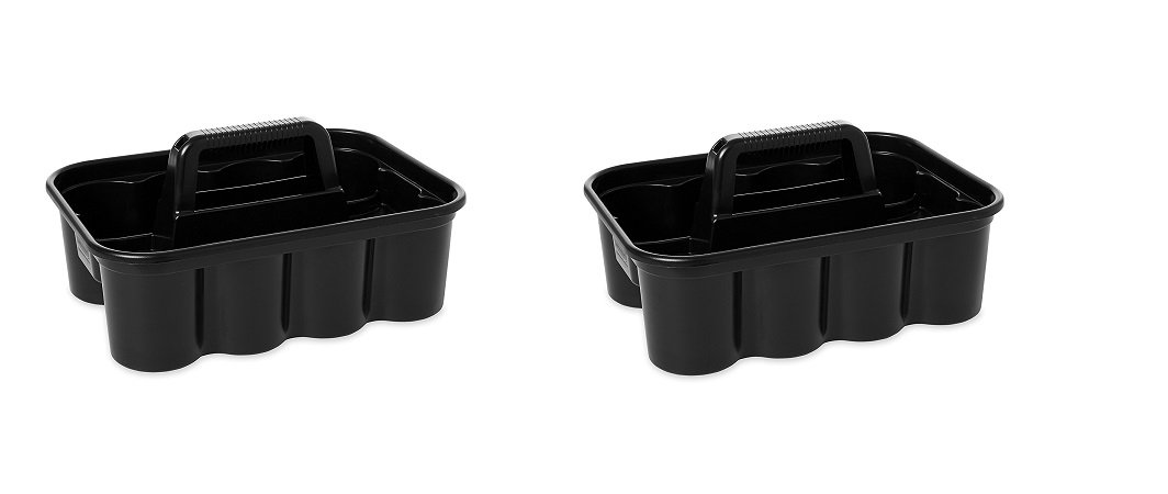 Rubbermaid Commercial Deluxe Carry Cleaning Caddy, Black (FG315488BLA) (PAXK OF 2) by Rubbermaid Commercial Products