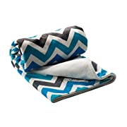 Berlando- Chevron Baby Blanket, blue and gray, ultra-soft baby boy blanket, #1 ranked in baby blankets for boys, minky baby blankets, stroller blanket, ideal baby shower gift, 100% polyester