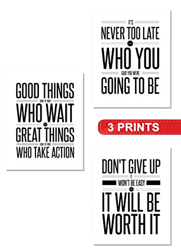 (Inspirational Wall Art Decor (3-Set) | 8x10 Unframed Prints | Home White & Black Famous Quotes | Great gifts for Teens, Entrepreneurs, Offices, Classrooms, Gyms, Dorms (Don't Give Up))