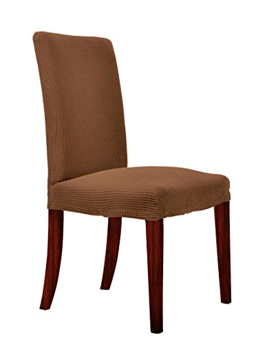 CHUN YI Waterproof Dining Chair Covers Stretch Jacquard Polyester Spandex Small Checks Anti-Stain Washable Dining Room Parsons Chair Slipcovers (4 Pieces, Coffee)