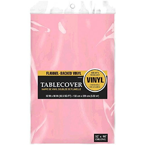 Pink Vinyl Tablecloth (Amscan Pink Flannel-Backed Vinyl Party Table)