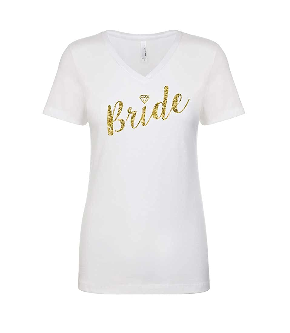 d658c500 Super Soft & Comfy Women's V-Neck T-Shirt with Gold Sparkly Print Across  Chest This Is A Fitted Women's Shirt That Has A Nice Stretch.