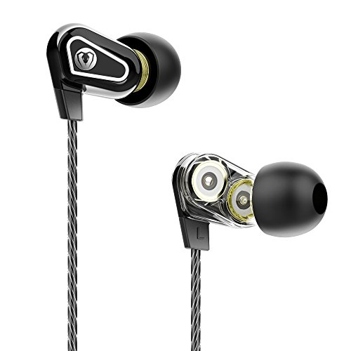 In Ear Headphones Dual Dynamic Drivers Earbuds with Microphone and Volume Control Deep Bass High Definition for Samsung, iPhone, (Boron 120 Tablets)