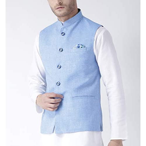 41sAjI1qiTL. SS500  - hangup Men's Blended Bandhgala Festive Nehru Jacket/Waistcoat and Size Options (Up to2XL)