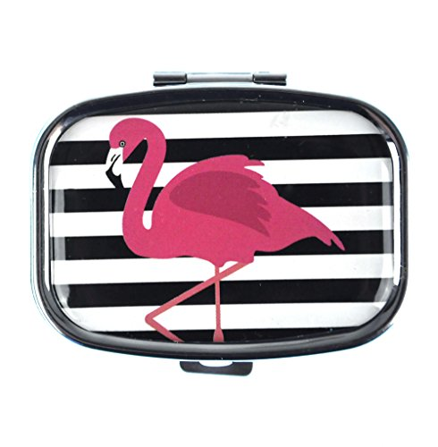 Pink Flamingos on Black and White Stripes Pill Box